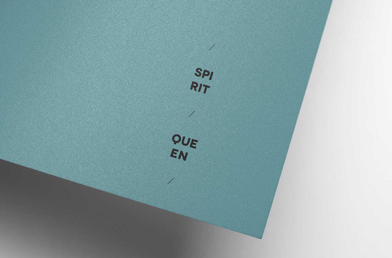 blue paper with spirit queen logo