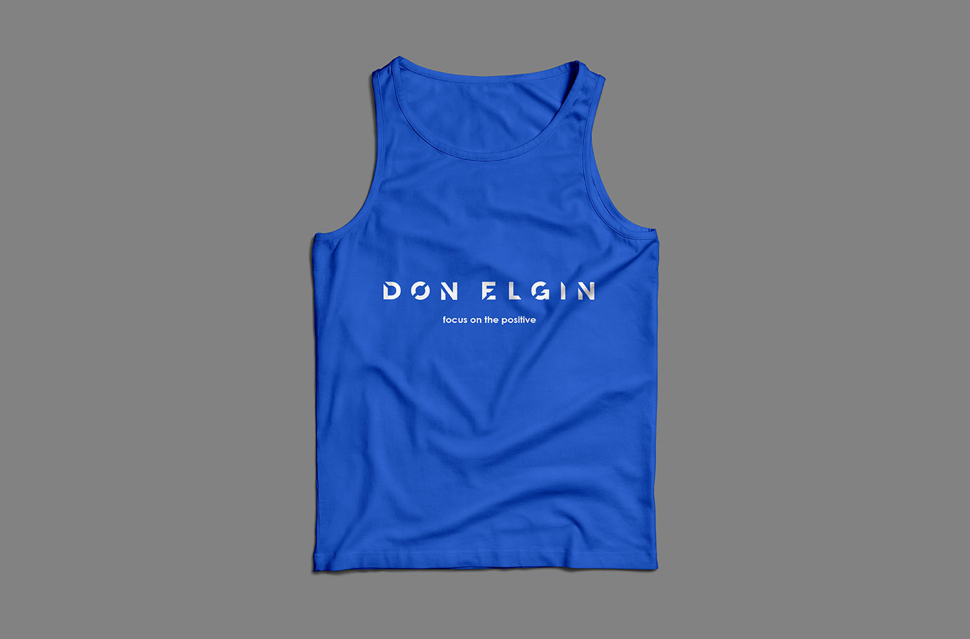 don elgin branded blue singlet