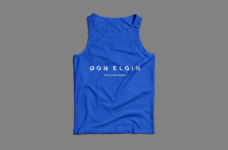 don elgin branded blue singlet