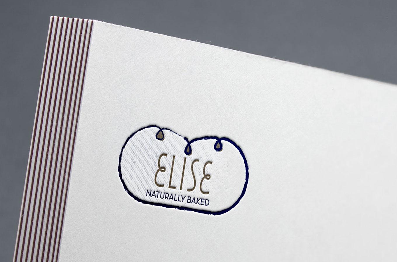 elise bakery logo on business card
