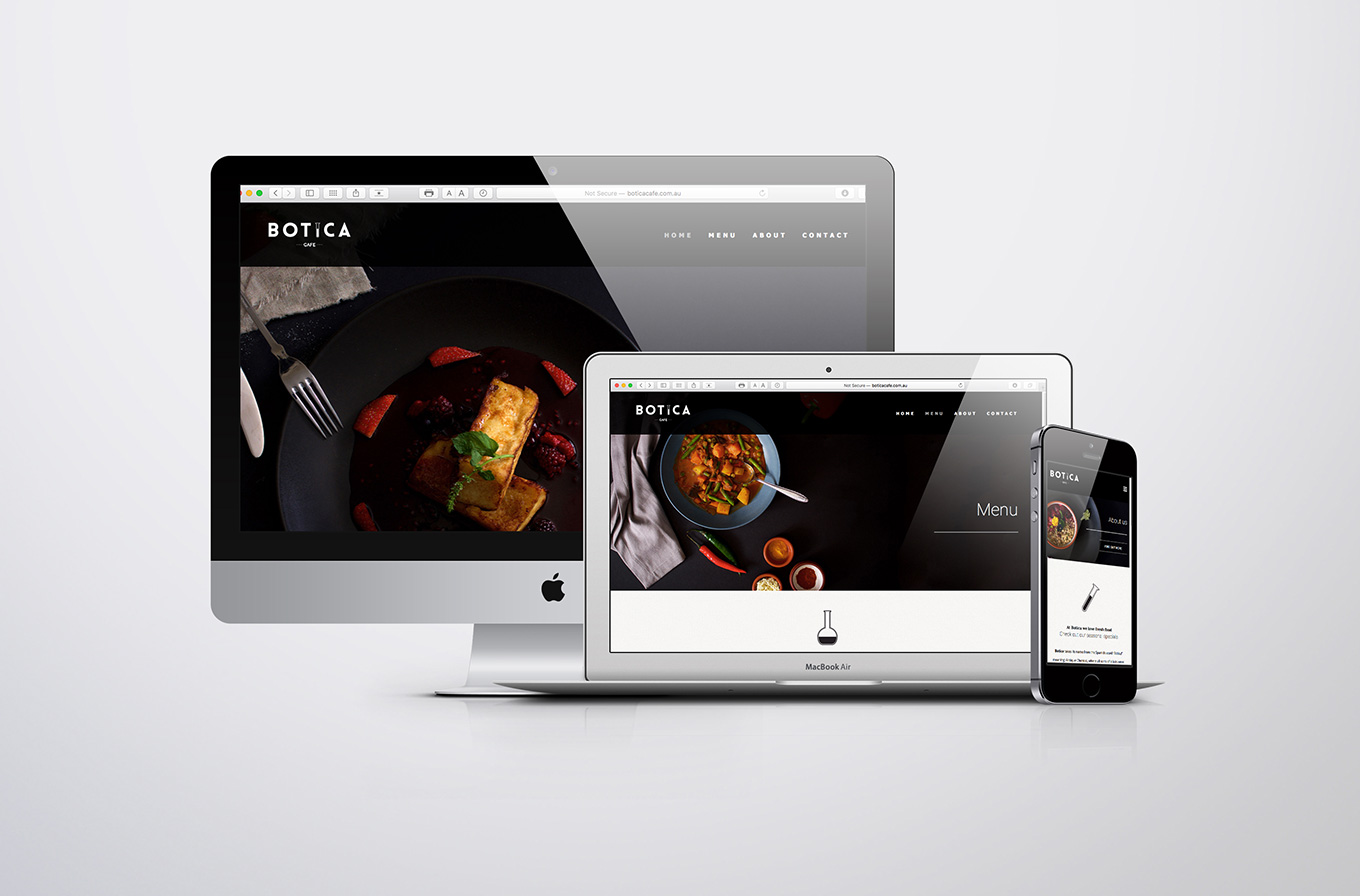 mac book and i phone mock up of botica cafe web site design