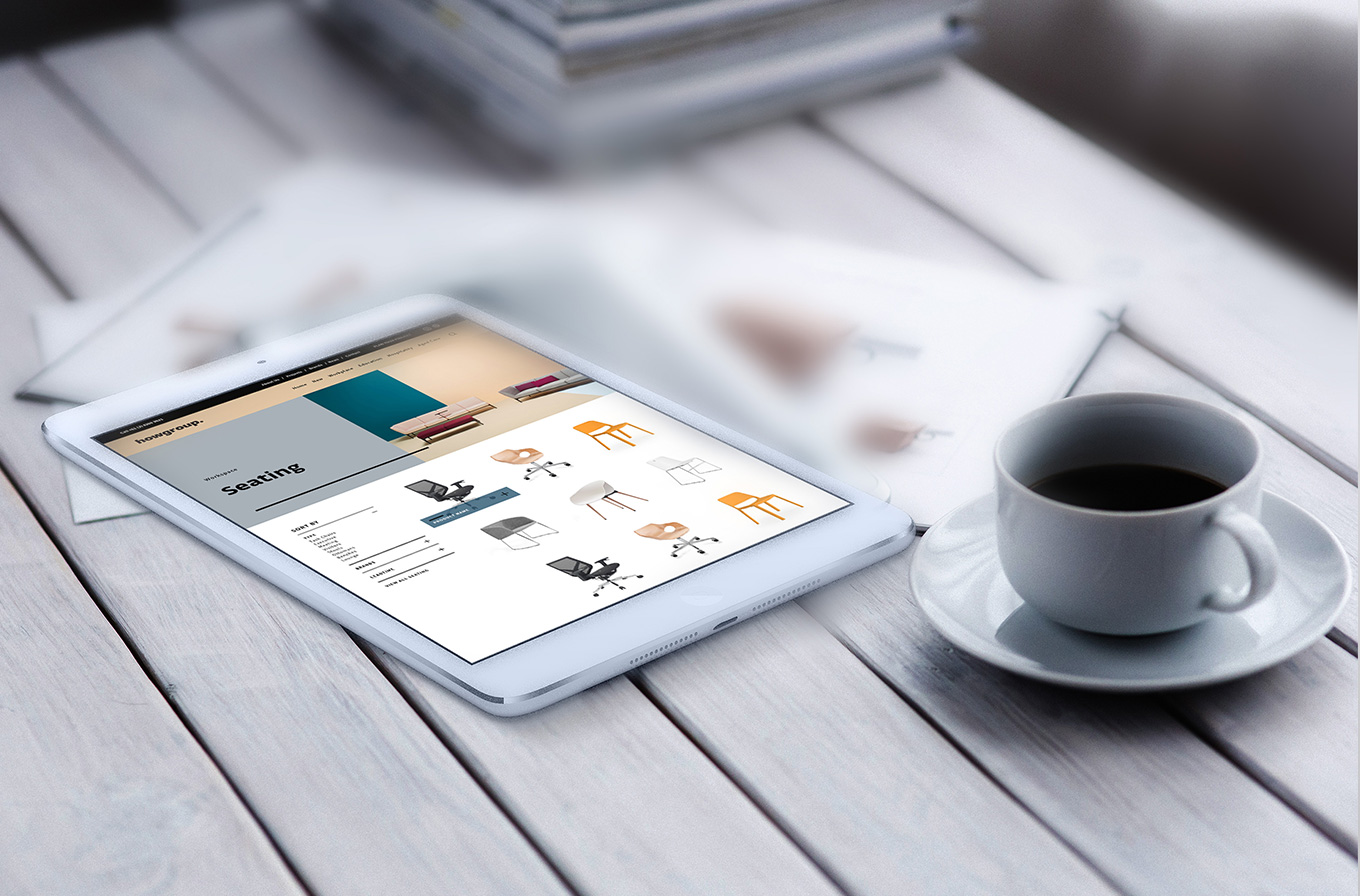 how group furniture supplier web site design i pad with cup of coffee