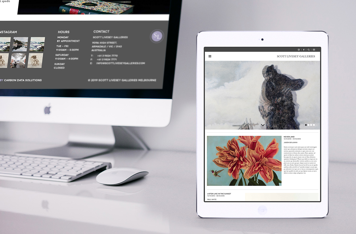 i pad view of scott livesey art gallery web design