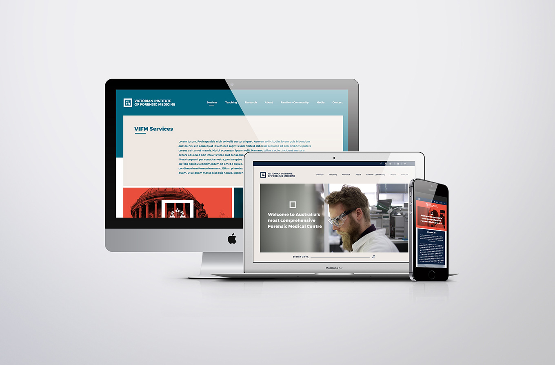 mac book pro and mac desktop view of victorian institute of forensic medicine web design