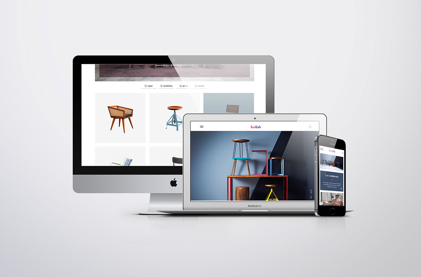 Kolab furniture home page web design on mac book pro mac and i phone