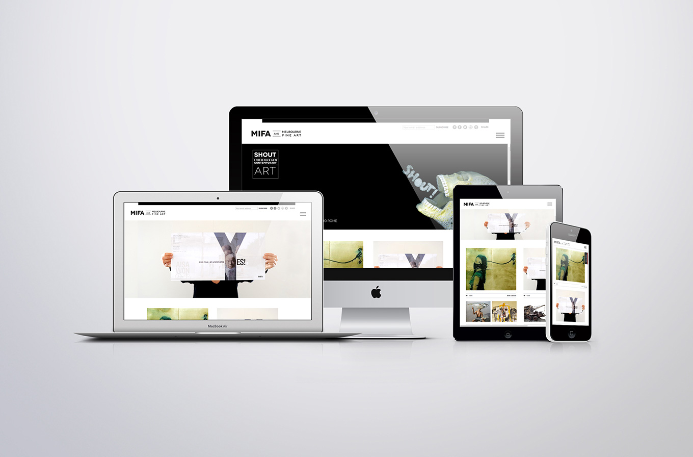 Mifa art gallery home page web design mock up on mac book pro