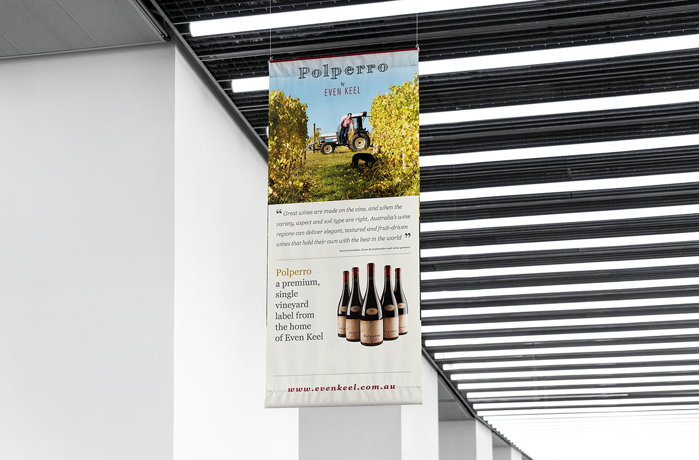polperro wines advertising banner hanging from ceiling